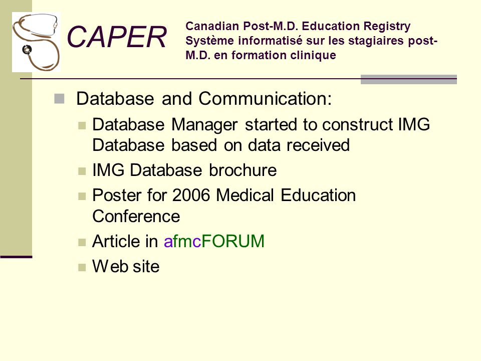 Database and Communication: Database Manager started to construct IMG Database based on data received IMG Database brochure Poster for 2006 Medical Education Conference Article in afmcFORUM Web site CAPER Canadian Post-M.D.