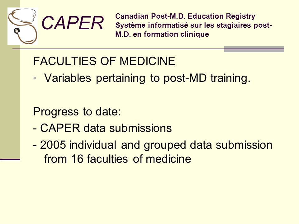 FACULTIES OF MEDICINE Variables pertaining to post-MD training.