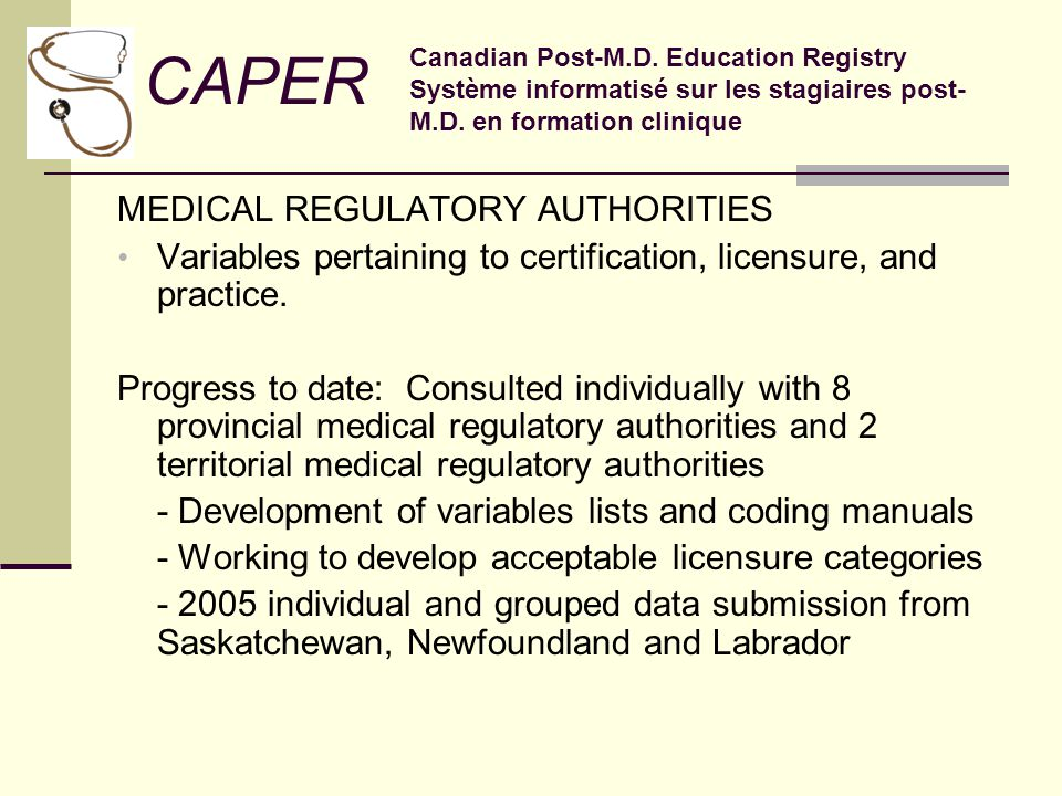MEDICAL REGULATORY AUTHORITIES Variables pertaining to certification, licensure, and practice.