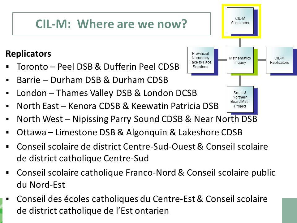 CIL-M: Where are we now? Replicators  Toronto – Peel DSB & Dufferin Peel CDSB  Barrie – Durham DSB & Durham CDSB  London – Thames Valley DSB & Lond