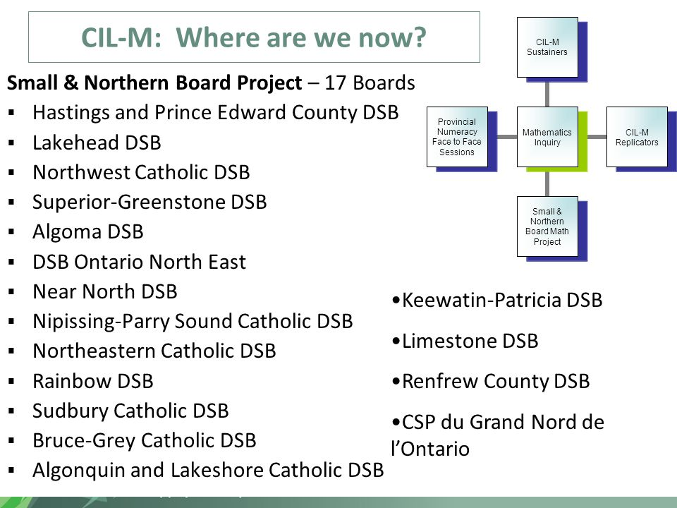 CIL-M: Where are we now? Small & Northern Board Project – 17 Boards  Hastings and Prince Edward County DSB  Lakehead DSB  Northwest Catholic DSB 