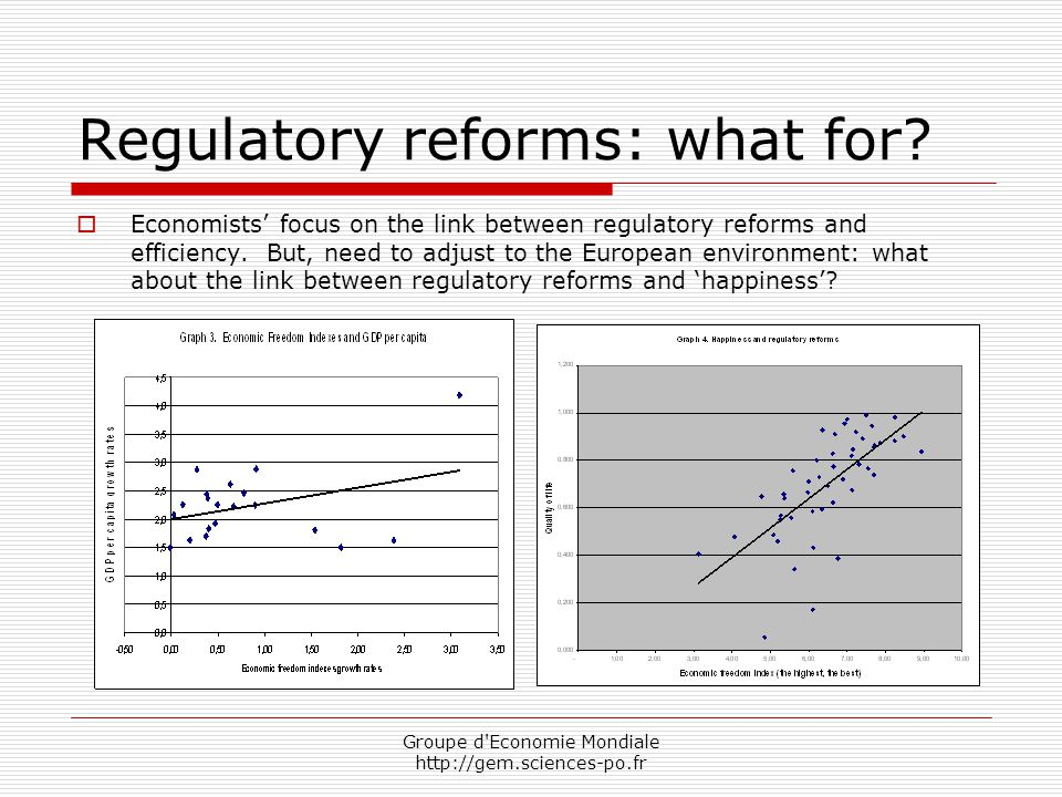 Groupe d Economie Mondiale http://gem.sciences-po.fr Regulatory reforms: what for.