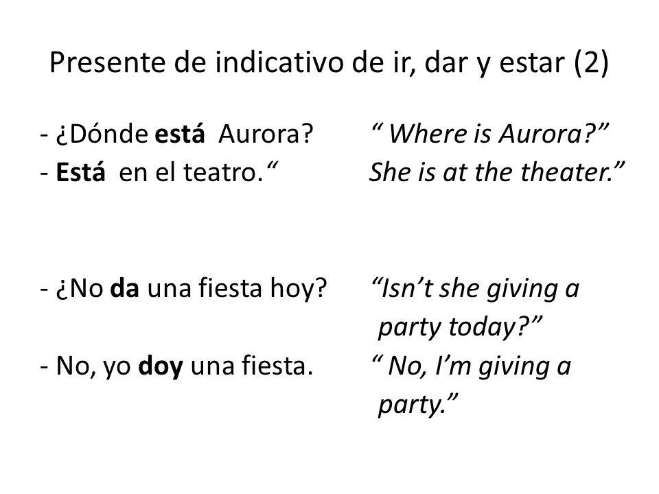 """Presente de indicativo de ir, dar y estar (2) - ¿Dónde está Aurora?"""" Where is Aurora?"""" - Está en el teatro.""""She is at the theater."""" - ¿No da una fiest"""