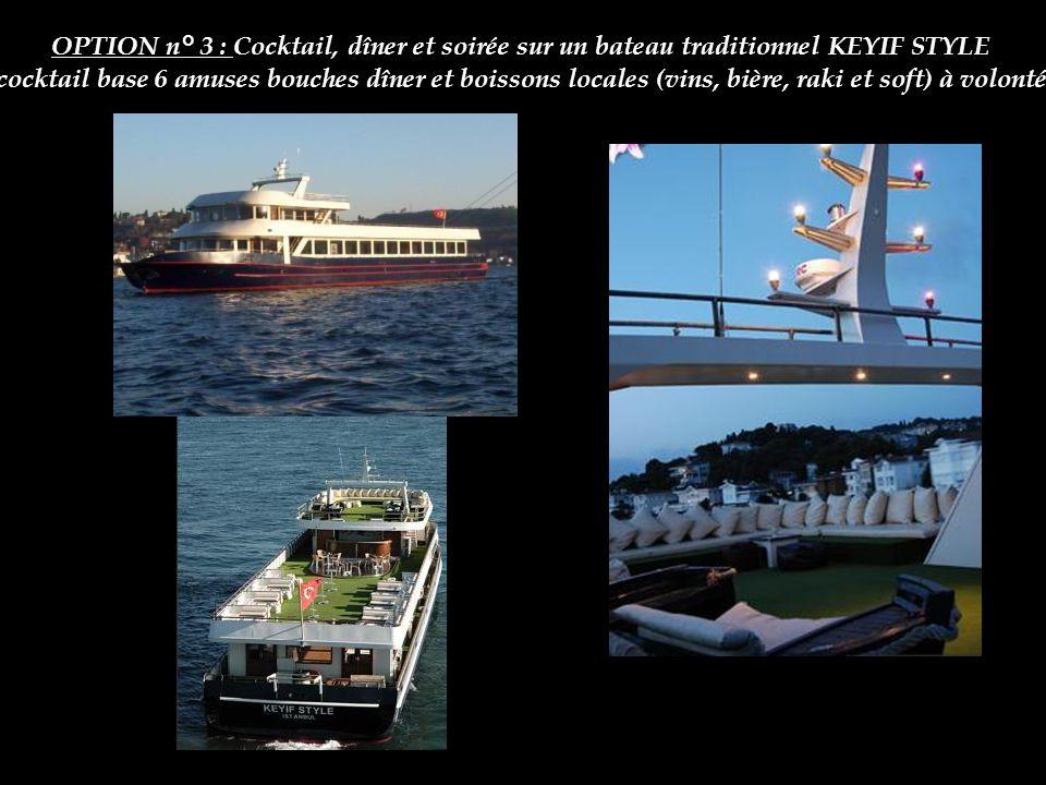 Croisière en Yacht de luxe sur le Bosphore OPTION n° 3 : Cocktail, dîner et soirée sur un bateau traditionnel KEYIF STYLE cocktail base 6 amuses bouch