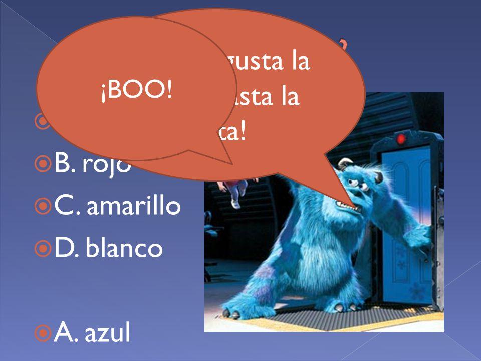 AA. azul BB. rojo CC. amarillo DD. blanco AA.