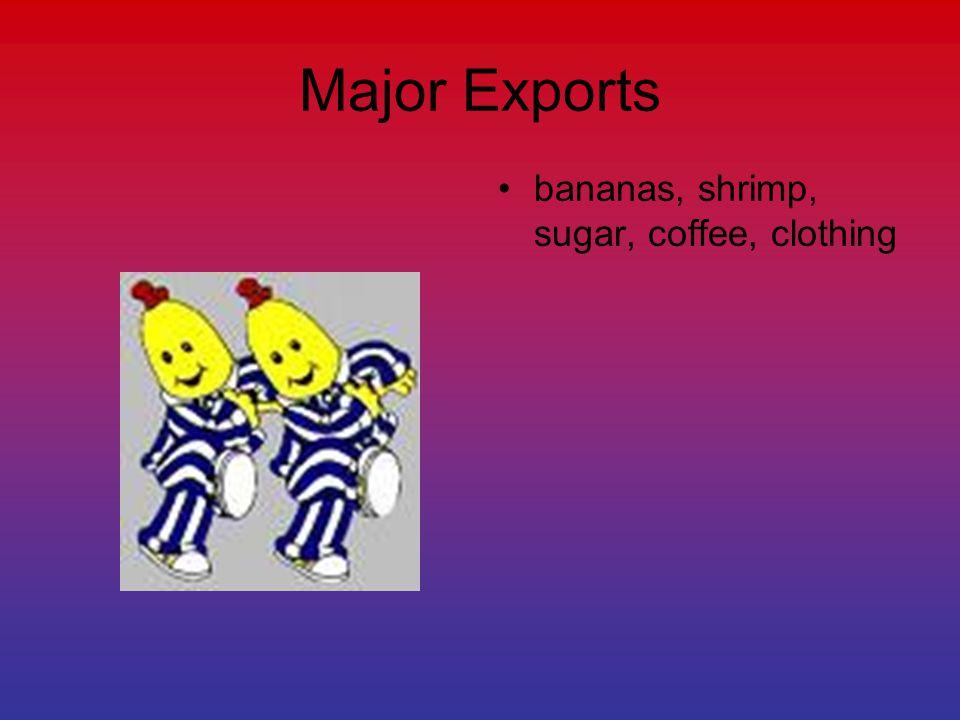 Major Exports bananas, shrimp, sugar, coffee, clothing