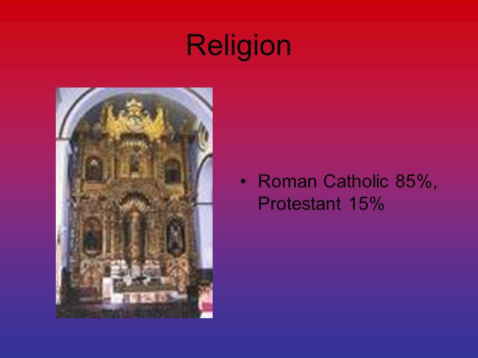 Religion Roman Catholic 85%, Protestant 15%
