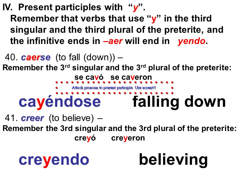 caerse 40. caerse (to fall (down)) – Remember the 3 rd singular and the 3 rd plural of the preterite: se cayó se cayeron creer 41. creer (to believe)