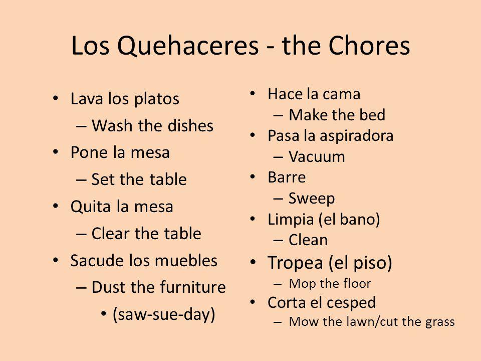Los Quehaceres - the Chores Lava los platos – Wash the dishes Pone la mesa – Set the table Quita la mesa – Clear the table Sacude los muebles – Dust the furniture (saw-sue-day) Hace la cama – Make the bed Pasa la aspiradora – Vacuum Barre – Sweep Limpia (el bano) – Clean Tropea (el piso) – Mop the floor Corta el cesped – Mow the lawn/cut the grass