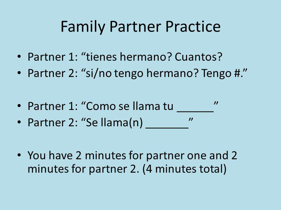 Family Partner Practice Partner 1: tienes hermano.