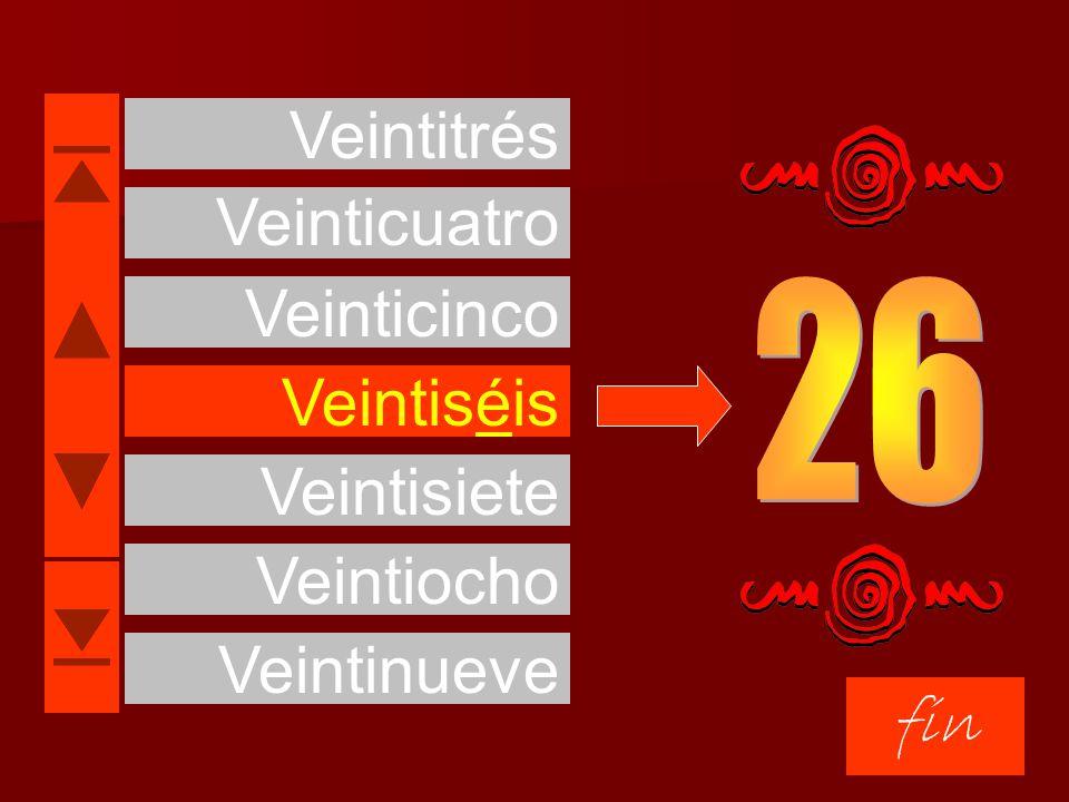 Veintisiete fin Treinta Veintinueve Veintiocho Veinticuatro Veinticinco Veintiséis