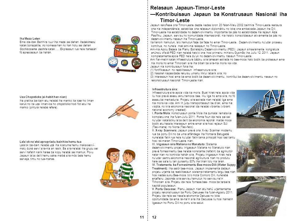 JOCV: iha dalan seluk atu fasilita interaasaun ema ba ema, Japaun despaxa ka koloka ona Japan Overseas Cooperation Volunteers (JOCVs) ba Timor-Leste, dezde fulan-April 2010.