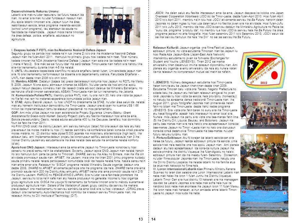 JOCV: iha dalan seluk atu fasilita interaasaun ema ba ema, Japaun despaxa ka koloka ona Japan Overseas Cooperation Volunteers (JOCVs) ba Timor-Leste,