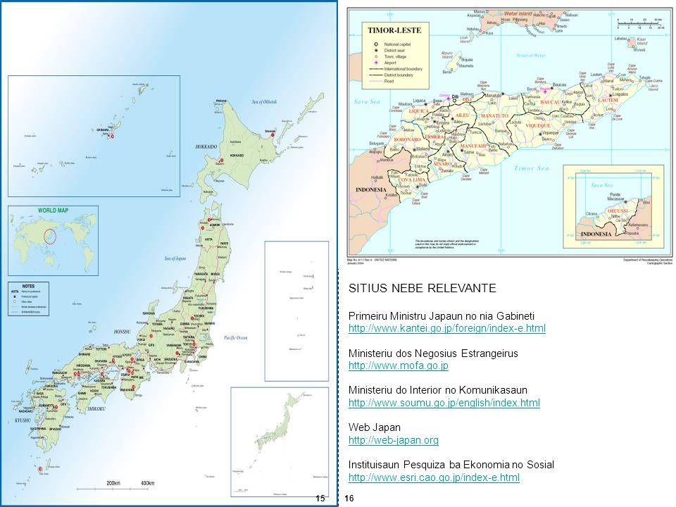 SITIUS NEBE RELEVANTE Primeiru Ministru Japaun no nia Gabineti http://www.kantei.go.jp/foreign/index-e.html Ministeriu dos Negosius Estrangeirus http: