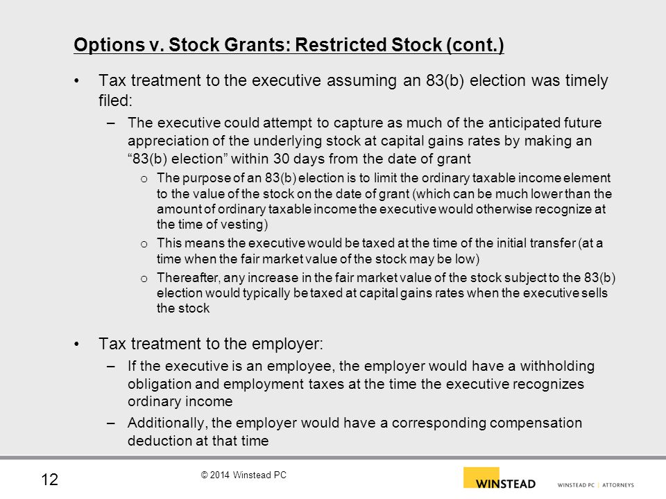 © 2014 Winstead PC Options v. Stock Grants: A Comparison 13
