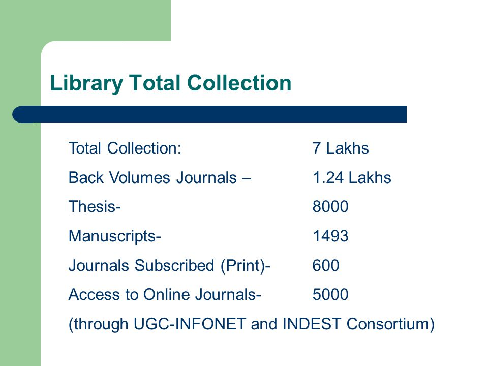 Library Total Collection Total Collection: 7 Lakhs Back Volumes Journals – 1.24 Lakhs Thesis- 8000 Manuscripts- 1493 Journals Subscribed (Print)-600 A