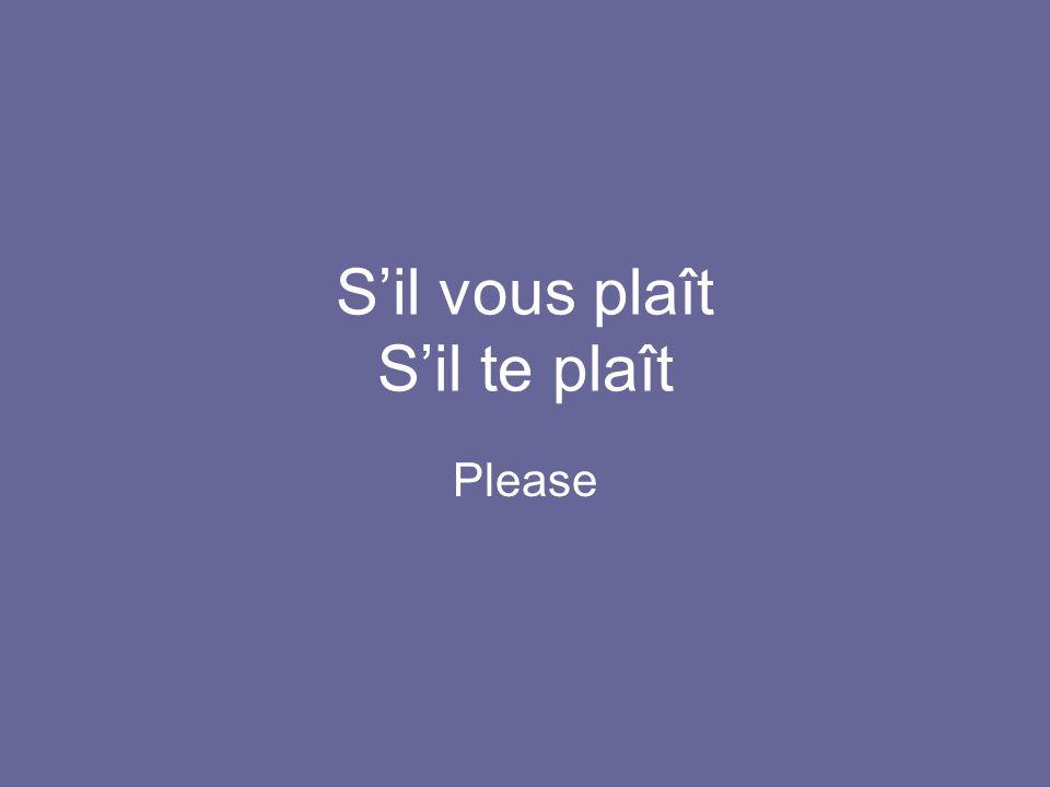 S'il vous plaît S'il te plaît Please