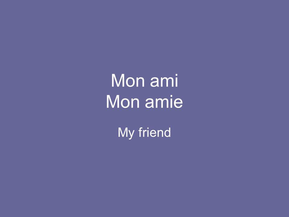 Mon ami Mon amie My friend