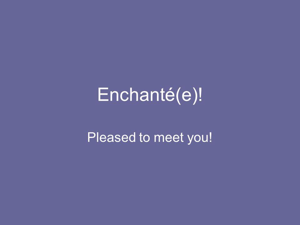 Enchanté(e)! Pleased to meet you!