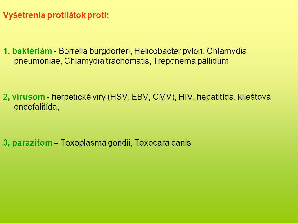 Vyšetrenia protilátok proti: 1, baktériám - Borrelia burgdorferi, Helicobacter pylori, Chlamydia pneumoniae, Chlamydia trachomatis, Treponema pallidum 2, vírusom - herpetické viry (HSV, EBV, CMV), HIV, hepatitída, klieštová encefalitída, 3, parazitom – Toxoplasma gondii, Toxocara canis
