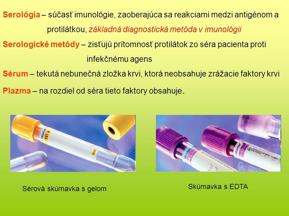 Serológia – súčasť imunológie, zaoberajúca sa reakciami medzi antigénom a protilátkou, základná diagnostická metóda v imunológii Serologické metódy – zisťujú prítomnosť protilátok zo séra pacienta proti infekčnému agens Sérum – tekutá nebunečná zložka krvi, ktorá neobsahuje zrážacie faktory krvi Plazma – na rozdiel od séra tieto faktory obsahuje.
