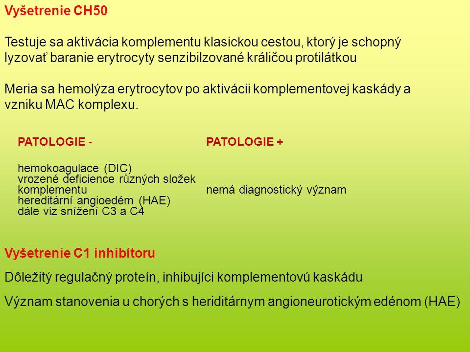 Vyšetrenie CH50 Testuje sa aktivácia komplementu klasickou cestou, ktorý je schopný lyzovať baranie erytrocyty senzibilzované králičou protilátkou Meria sa hemolýza erytrocytov po aktivácii komplementovej kaskády a vzniku MAC komplexu.