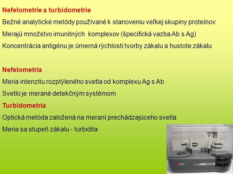 Nefelometrie a turbidometrie Bežné analytické metódy používané k stanoveniu veľkej skupiny proteínov Merajú množstvo imunitných komplexov (špecifická vazba Ab s Ag) Koncentrácia antigénu je úmerná rýchlosti tvorby zákalu a hustote zákalu Nefelometria Meria intenzitu rozptýleného svetla od komplexu Ag s Ab Svetlo je merané detekčným systémom Turbidometria Optická metóda založená na meraní prechádzajúceho svetla Meria sa stupeň zákalu - turbidita
