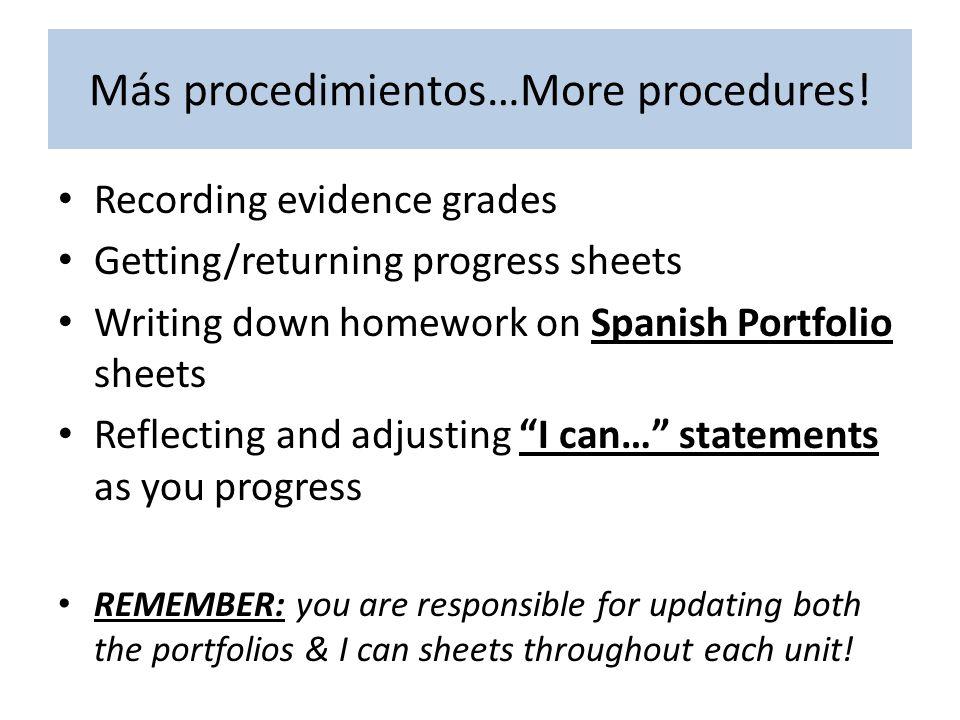 Más procedimientos…More procedures! Recording evidence grades Getting/returning progress sheets Writing down homework on Spanish Portfolio sheets Refl