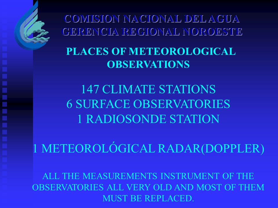 PLACES OF METEOROLOGICAL OBSERVATIONS 147 CLIMATE STATIONS 6 SURFACE OBSERVATORIES 1 RADIOSONDE STATION 1 METEOROLÓGICAL RADAR(DOPPLER) ALL THE MEASUR