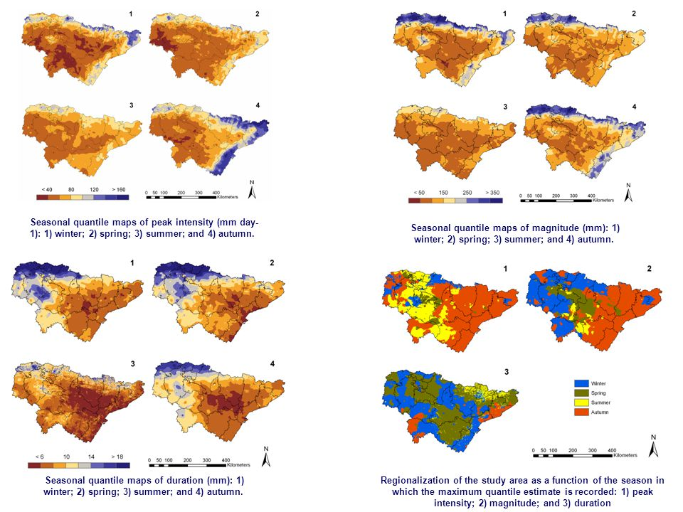 Seasonal quantile maps of peak intensity (mm day- 1): 1) winter; 2) spring; 3) summer; and 4) autumn.