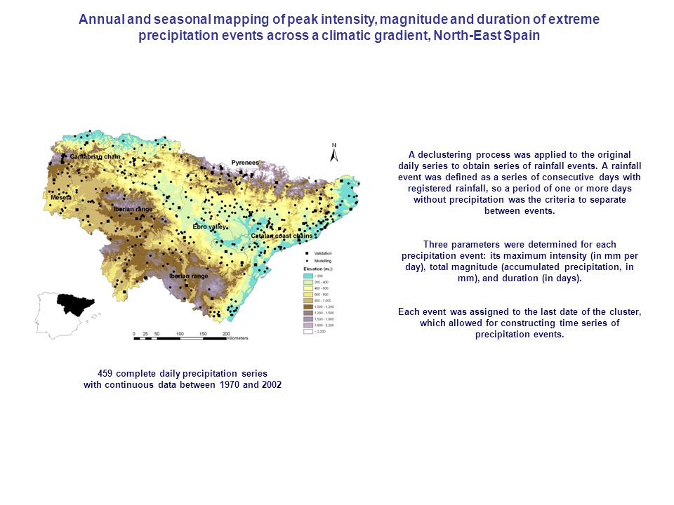 Annual and seasonal mapping of peak intensity, magnitude and duration of extreme precipitation events across a climatic gradient, North-East Spain 459 complete daily precipitation series with continuous data between 1970 and 2002 A declustering process was applied to the original daily series to obtain series of rainfall events.