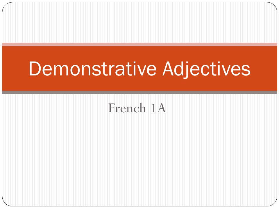 Demonstrative Adjectives.Qu'est-ce que c'est.