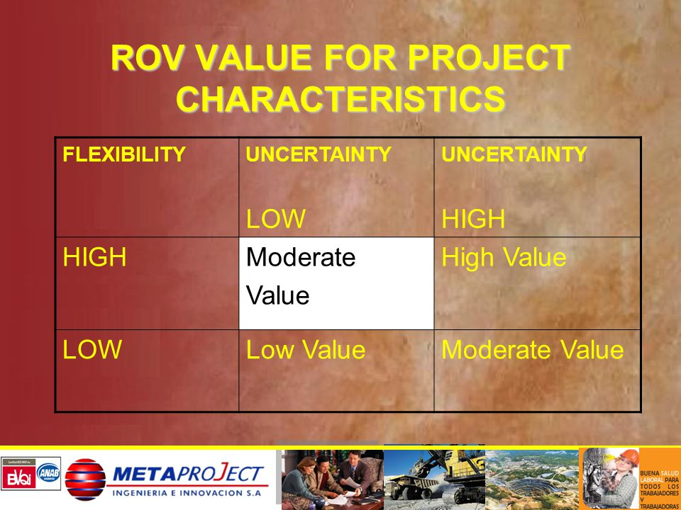 ROV VALUE FOR PROJECT CHARACTERISTICS FLEXIBILITYUNCERTAINTY LOW UNCERTAINTY HIGH Moderate Value High Value LOWLow ValueModerate Value