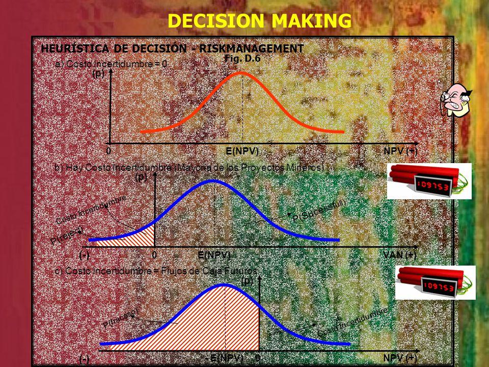 DECISION MAKING HEURÍSTICA DE DECISIÓN - RISKMANAGEMENT a) Costo Incertidumbre = 0 (p) NPV (+) b) Hay Costo Incertidumbre (Mayoría de los Proyectos Mi