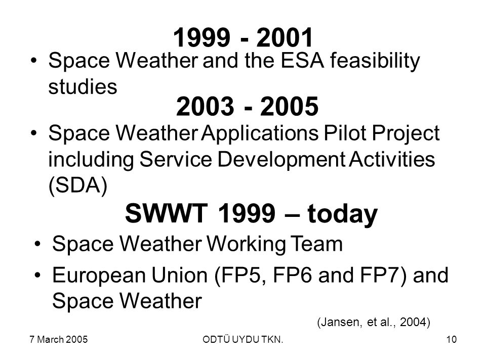 7 March 2005ODTÜ UYDU TKN.10 1999 - 2001 Space Weather and the ESA feasibility studies 2003 - 2005 Space Weather Applications Pilot Project including Service Development Activities (SDA) (Jansen, et al., 2004) SWWT 1999 – today Space Weather Working Team European Union (FP5, FP6 and FP7) and Space Weather