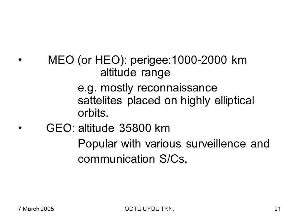 7 March 2005ODTÜ UYDU TKN.21 MEO (or HEO): perigee:1000-2000 km altitude range e.g. mostly reconnaissance sattelites placed on highly elliptical orbit