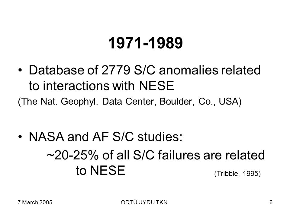 7 March 2005ODTÜ UYDU TKN.6 1971-1989 Database of 2779 S/C anomalies related to interactions with NESE (The Nat.