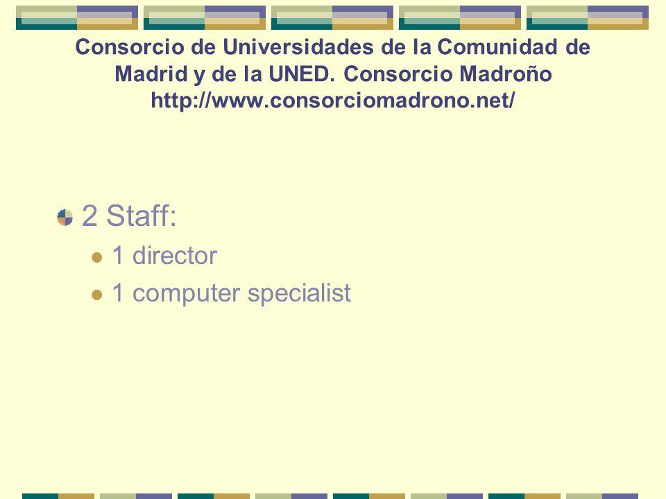 2 Staff: 1 director 1 computer specialist Consorcio de Universidades de la Comunidad de Madrid y de la UNED.