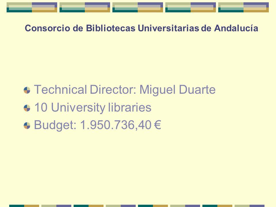 Consorcio de Bibliotecas Universitarias de Andalucía Technical Director: Miguel Duarte 10 University libraries Budget: 1.950.736,40 €