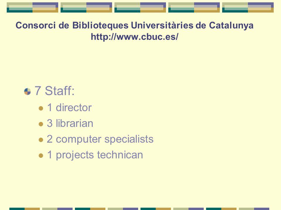 Consorci de Biblioteques Universitàries de Catalunya http://www.cbuc.es/ 7 Staff: 1 director 3 librarian 2 computer specialists 1 projects technican