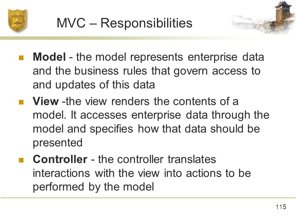 115 MVC – Responsibilities Model - the model represents enterprise data and the business rules that govern access to and updates of this data View -the view renders the contents of a model.