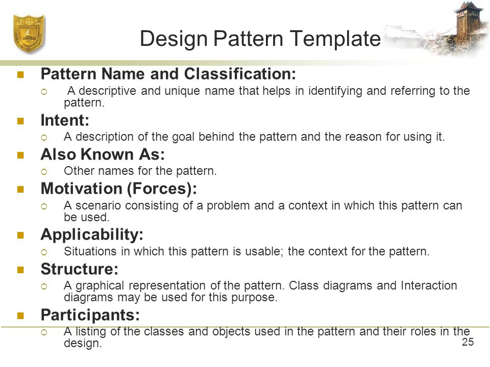 Design Pattern Template Pattern Name and Classification:  A descriptive and unique name that helps in identifying and referring to the pattern.