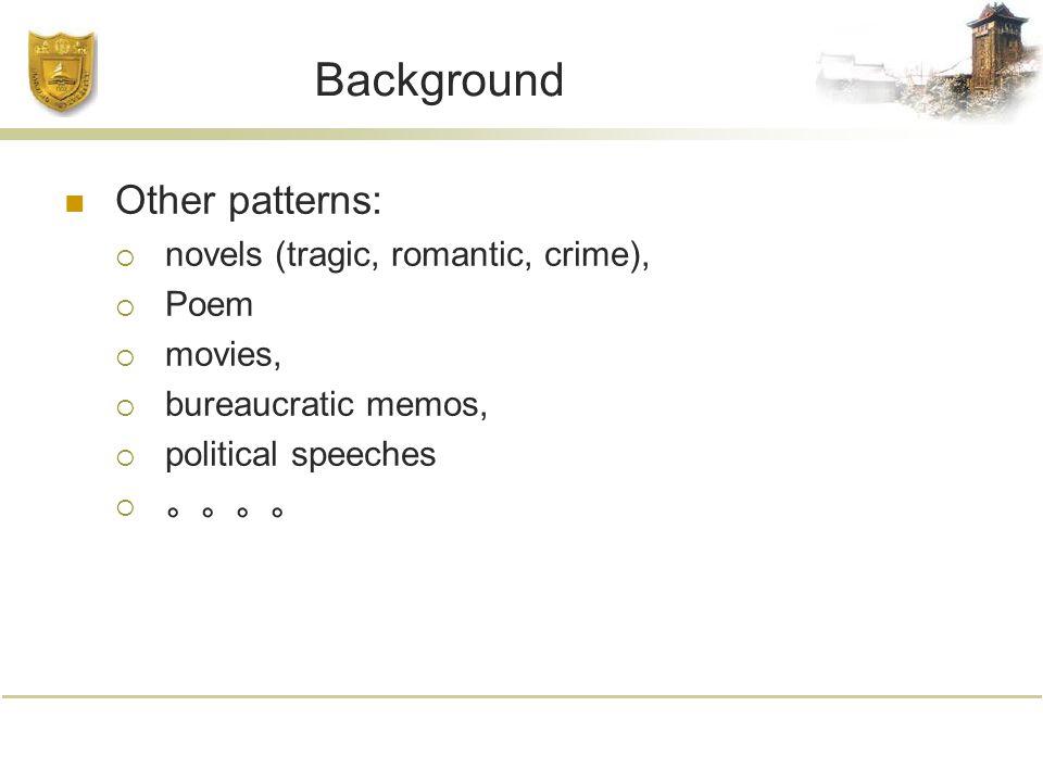 Background Other patterns:  novels (tragic, romantic, crime),  Poem  movies,  bureaucratic memos,  political speeches  。。。。