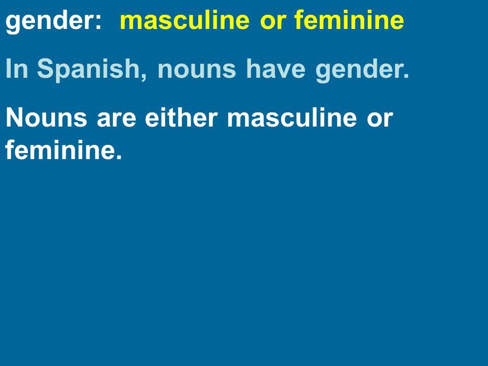 gender: masculine or feminine In Spanish, nouns have gender. Nouns are either masculine or feminine.