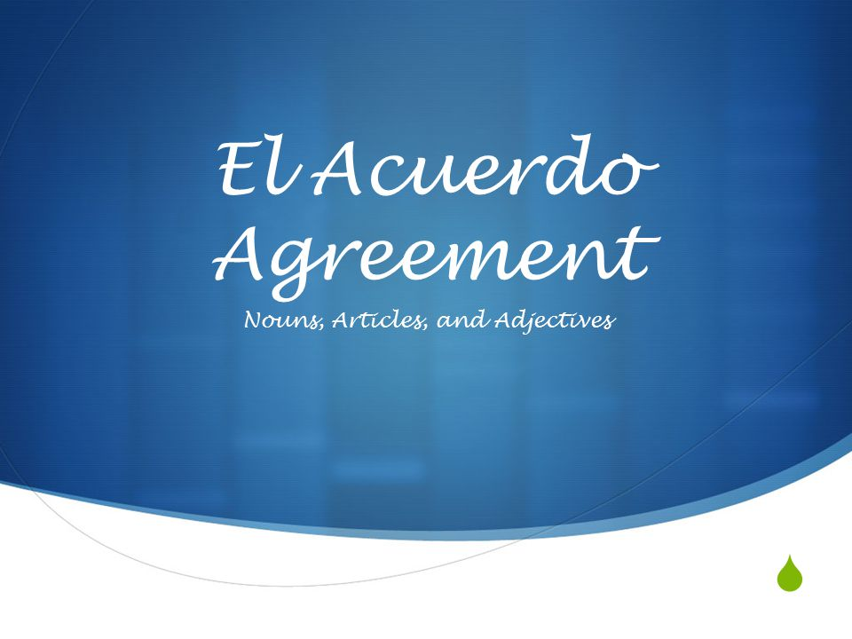  El Acuerdo Agreement Nouns, Articles, and Adjectives