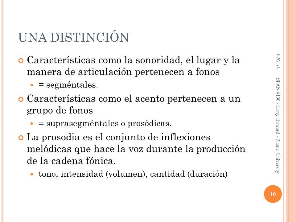 UNA DISTINCIÓN Características como la sonoridad, el lugar y la manera de articulación pertenecen a fonos = segméntales.