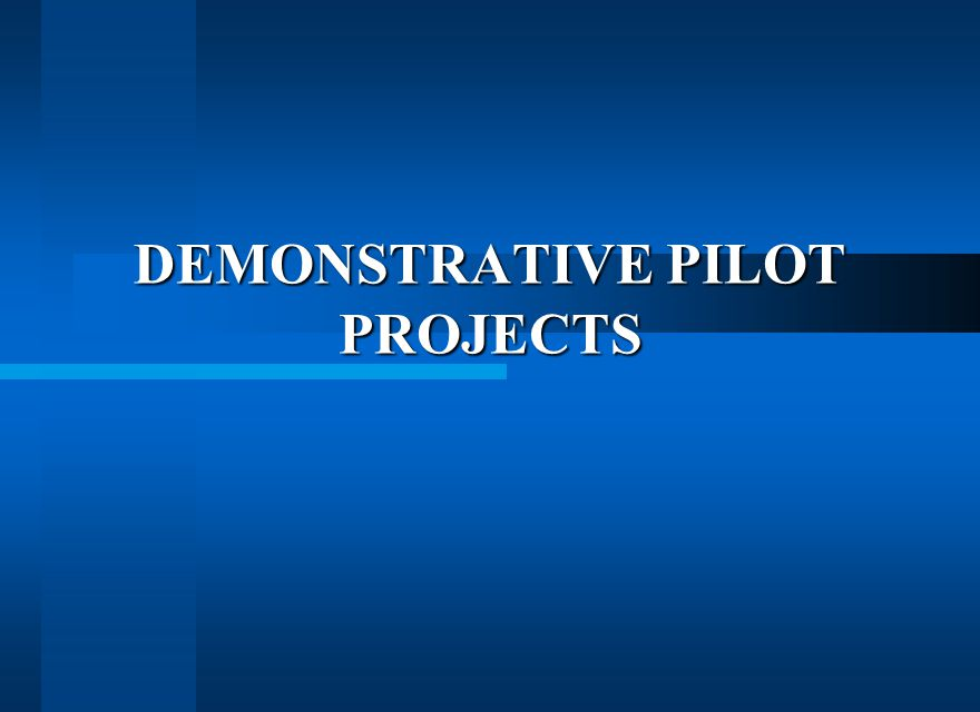 DEMONSTRATIVE PILOT PROJECTS