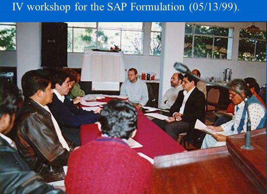 IV workshop for the SAP Formulation (05/13/99).