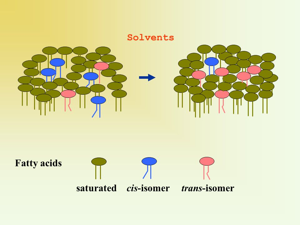 Solvents Fatty acids saturatedcis-isomertrans-isomer