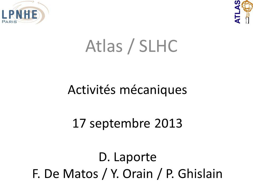 Activités mécaniques 17 septembre 2013 D. Laporte F. De Matos / Y. Orain / P. Ghislain Atlas / SLHC